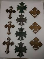 """VTG Wood Craft Pieces From Mexico """"WALL"""" Cross & Maltese Styles -  Lot of 10"""