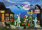 ACEO Original Art Halloween Trick-or-Treaters Ghoul, Pumpkin Ghost Bee Cats Bats