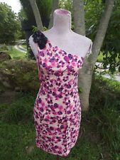 VERA WANG LAVENDER LABEL Sz 4 Pink Purple Poppy Print One Shoulder Dress PERFECT