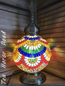 Turkish Table Lamp Multi Colour /Green Glass Lamp Mosaic Light Brass Free LED