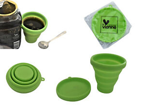 Flatpack Green Coffee Cup Reusable Travel Silicone Foldable  & Lid/Saucer 175ml