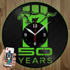 LED Vinyl Clock Mustang LED Wall Art Decor Clock Original Gift 3904