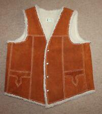 VTG Suede Leather Cowboy Sherpa Fur Lined Vest Mens Medium Western Shearling