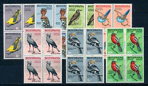 BOTSWANA 1967 DEFINITIVES SG220/226 BIRDS BLOCKS OF 4 MNH