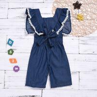 Toddler Kids Baby Girls Overalls Ruffles Romper Bodysuit Jumpsuit Clothes 2-6Y