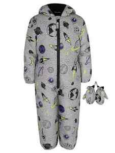 Boys Space Print shower resistant Snowsuit Mittens Fleece lined hood 1-1.5 year
