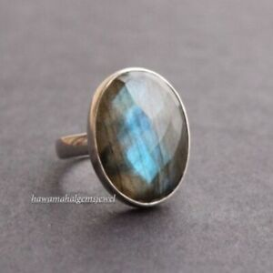 925 Silver Natural Labradorite Oval Ring Women New Rings Faceted Gemstone