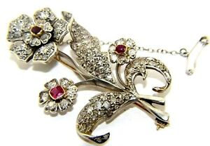 Stunning 9ct yellow & white gold Victorian brooch with rubies & 4ct of diamonds