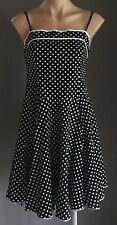 1950's Inspired  MISS ANNE Black & White Polka Dot PinUp Dress Size 10/12