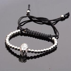 Mens 18k Superhero 4mm Micro Pave Zircon Beads Braiding Macrame Agate Bracelet