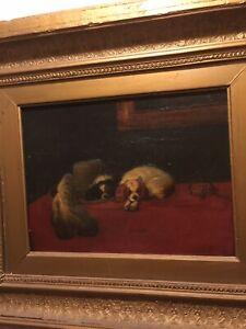 King Charles Cavaliers - Sir Edwin Landseer Victorian Afterlife Painting In Oil
