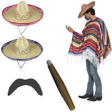 Mexican Poncho Bandit Costume Set Sombrero Hat Moustache & Cigar