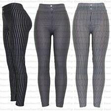 New Ladies Womens Tapered Pencil Slim Fit Stripes Trousers Pants Leggings