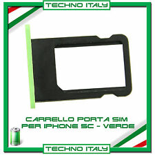 CARRELLO SLOT PORTA MICRO SIM TRAY GREEN VERDE PER IPHONE 5C