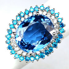 TOPAZ SWISS BLUE OVAL 16.50 CT.SAPPHIRE APATITE 925 STERLING SILVER RING SZ 6.25