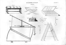 Stampa antica ALLEVAMENTO BACO da SETA attrezzature scala 1848 Old print