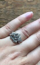 Stunning Vintage Style Rhinestone Dress Ring/Crystal Statement/Cocktail/Flower