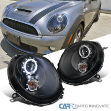For 07-12 Mini Cooper LED DRL Halo Rim Black Projector Headlights Hea Lamps Pair