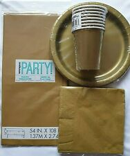 Gold Plain Solid Colour Disposable Tableware Birthday Party Celebrrations XMAS