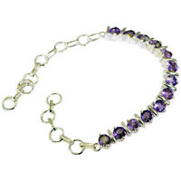 exquisite Amethyst 925 Solid Sterling Silver Purple Bracelet genuine indian US