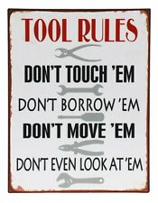 Rustic Tool Rules Metal Tin Sign Workshop Man Cave Fathers Day Wall Art