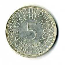 Moneda Alemania 1972 J 5 marcos plata .625 silver coin Deutsche Marck