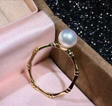 TOP! 7.5mm Perfect Round White Akoya Sea Pearl 18K Yellow Gold Bamboo Ring 6#