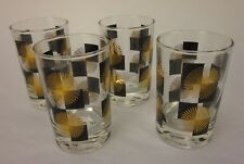 Vintage MCM Atomic Starburst Black & Gold Juice Glasses - Set of 4
