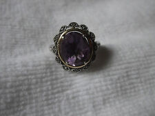Alwand Vahan 14K Yellow Gold Sterling Silver 4 CTW Amethyst & Diamond Ring