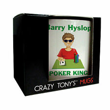 Mens Personalised Poker Gifts, Unique Poker Mug, Crazy Tony's, Male Poker Gifts