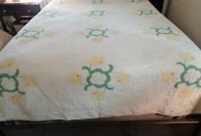 "1940s Vintage Handstitched Quilt YELLOW DAFFODILS 84"" x 94"" Queen Size Green"