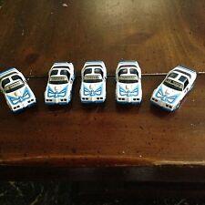 5 PIECE VINTAGE AURORA AFX SLOT CAR GROUP / BLUE WHITE FIREBIRD / BIG BIRD 1981