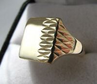 9ct Yellow Gold Gents 1960s Diamond Cut Signet Ring Size S 1/2 Us 9.5 Mint