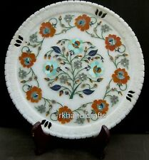 10 Inches White Marble Collectible Plate with Shiny Gemstones Work Wall Plate