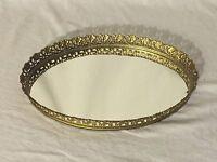 Vtg Gold Tone Ormolu Filigree Vanity Dresser Hollywood Regency Mirror Tray Oval