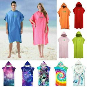Adult Quick Dry Changing Robe Towel Bath Hooded Beach Towel Poncho Bathrobe++