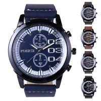 Fashion Mens Leather Strap Sport Watch Stainless Steel Quartz Analog Wristwatch