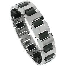 Tungsten Carbide Magnetic Bracelet w/ 2-Tone (Gun Metal & Black) Bar Links