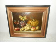 Old oil painting,{ Still life with fruit and a glass of wine, is signed }.