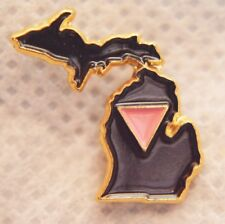 "MICHIGAN STATE SHAPE PINK TRIANGLE 3/4"" GOLDTONE METAL LAPEL PIN"