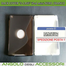 """BACK COVER """"S-CASE""""in gomma di silicone  iPad mini NERO /BIANCO TRASPARENTE"""