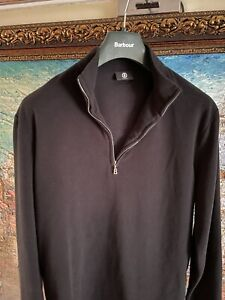 Authentic Bogner Sporty sweatshirt with Troyer collar, black Size XXL.