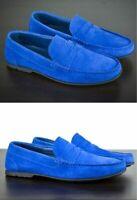 Mocassins en daim bleu véritable pour hommes faits à la main