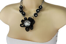 Women Black Fabric Flower Necklace Chain Silver Bead Fashion Jewelry + Earrings
