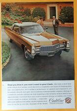Cadillac Vintage  Magazine Print Ad 1968