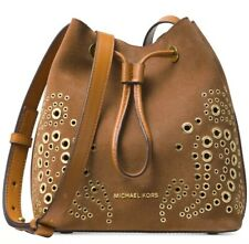 New Michael Kors Cary Embellished Suede Bucket Crossbody caramel suede gold stud
