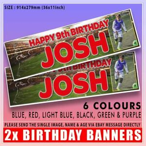 """2 PERSONALISED PHOTO FOOTBALL BIRTHDAY BANNERS - ANY NAME ANY AGE 36""""x11"""""""