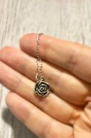 "Sterling Silver .925 Sterling Silver Rose Flower Pendant Necklace - 16"" or 18"""