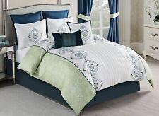 McLeland Design Pompei 8 Piece Embellished White Green Comforter Set Queen
