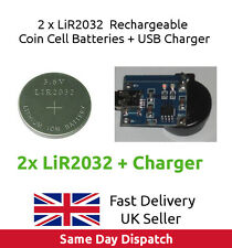 2 x 3.6V LiR2032 Rechargeable Coin Button Cell Battery Li-ion (CR2032) + CHARGER